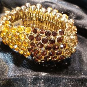 Shades of chocolate jeweled stretch bracelet